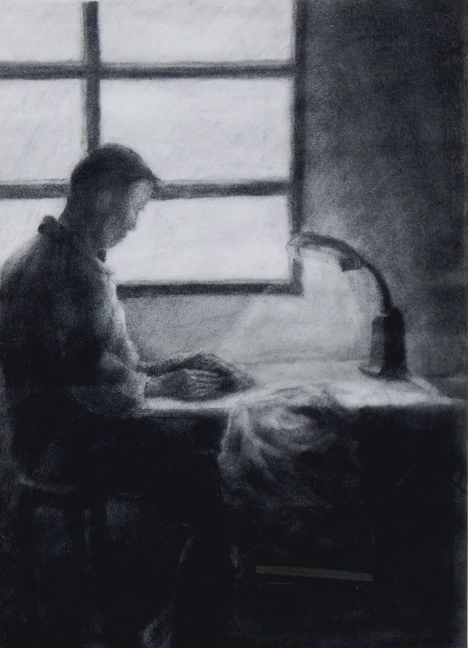 《專注》女兒許懷元作於台北 (由國立中興大學藝術中心典藏)